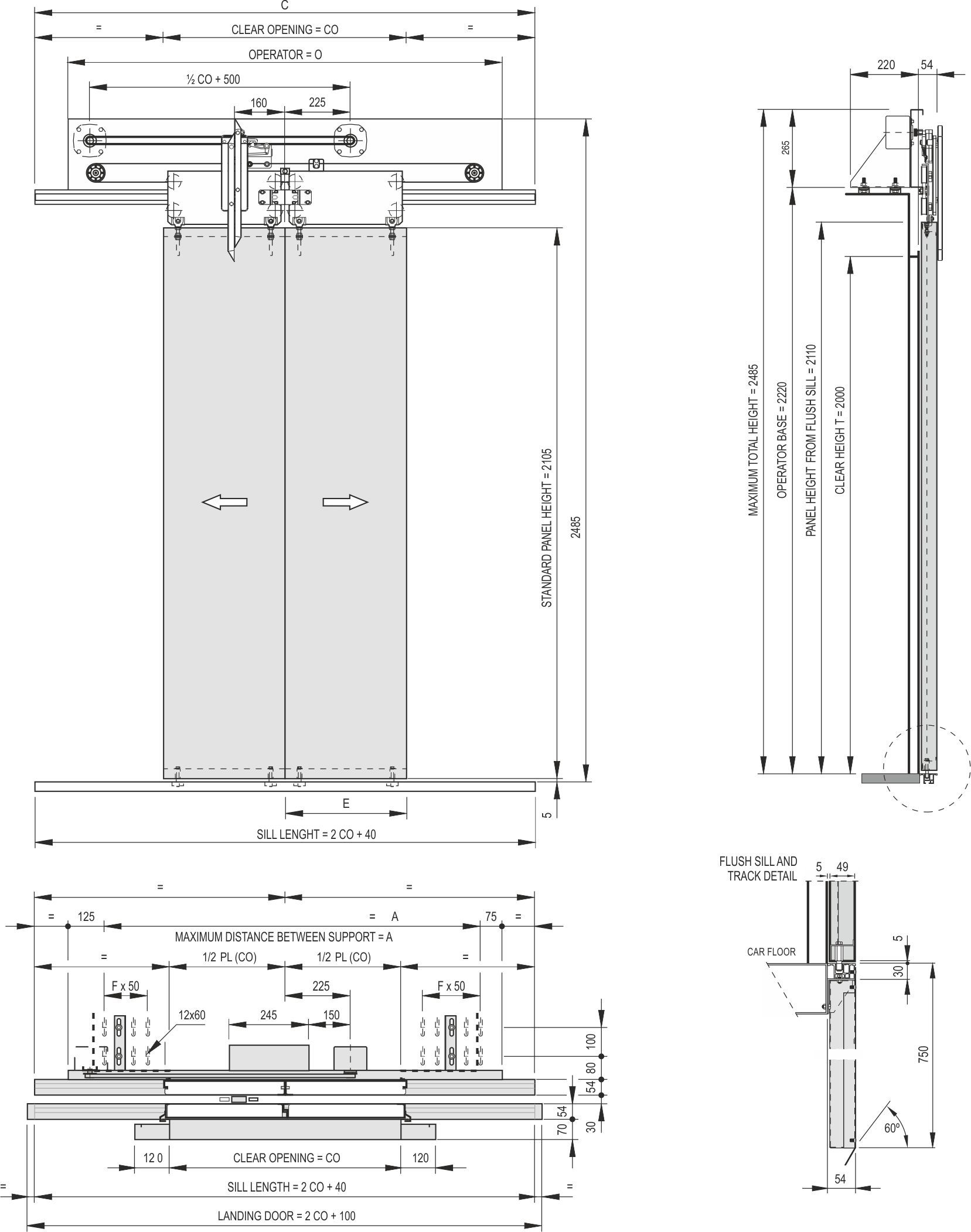 2 Panel Centre Parting Door For Elevators Index Systems Car Schematic Model