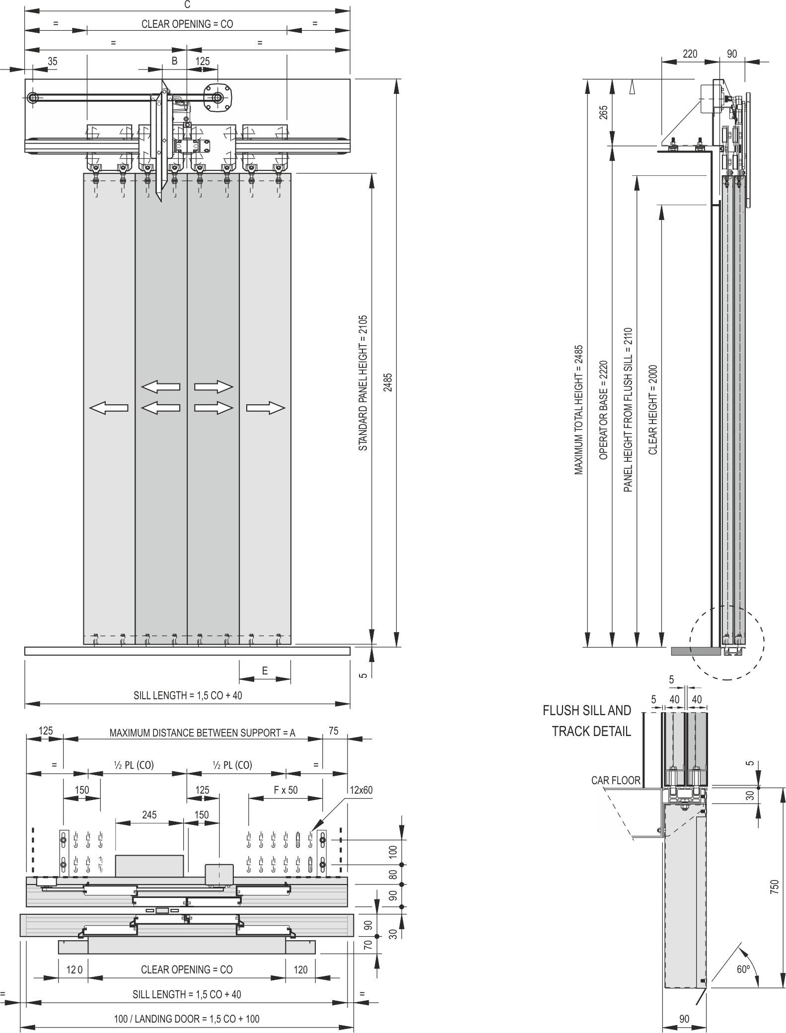 4 Panel Centre Parting Door For Elevators Index Systems Car Schematic Model