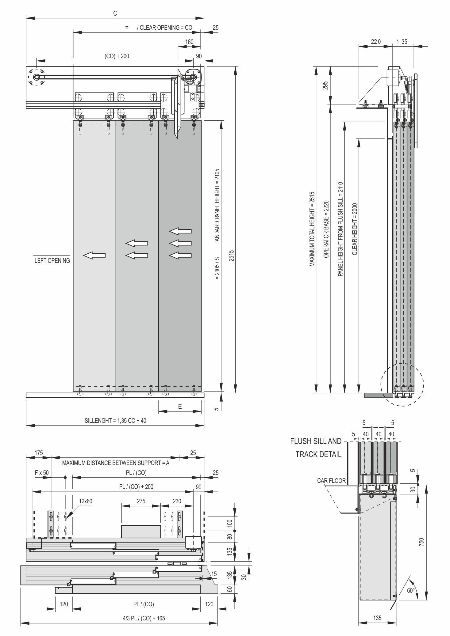 Car Door Schematic 3 Panel Side Opening For Elevators Index Systems Model